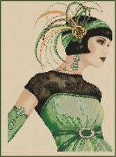 Art Deco Lady in Green Counted Cross Stitch COMPLETE KIT No.1-30b