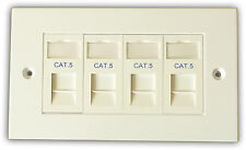 CAT5 4 Way Rete d'informazione OUTLET KIT, FACEPLATE, moduli. LAN Ethernet per montaggio a parete