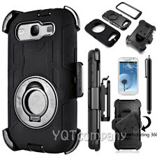 BLACK Rugged Hybrid Hard Cover Shockproof Clip Case for Samsung Galaxy S3 S III