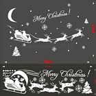 1x/2x Xmas Santa Reindeer Removable Vinyl Decal Decor Wall Sticker Glass Window