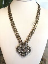 PANACEA Antiqued Gold-Tone Crystal Cluster Pendant Necklace