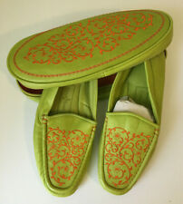 Cole Haan Womens Sz. 8 SOFT Leather Moccasins Slippers Shoes w/ Case - Mint