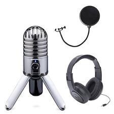 NEW Samson Meteor Mic USB Studio Microphone + Samson  Headphones + Pop Filter