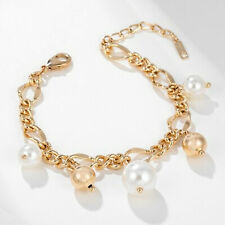 Yellow Gold Filled Syn Pearl Ball Charm Chain Link Bracelet Gift Idea UK Seller