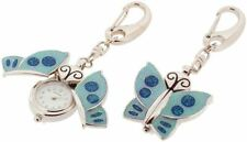 Gift Time Products Womens Sparkly Butterfly Clock Key Ring - Silver/Blue