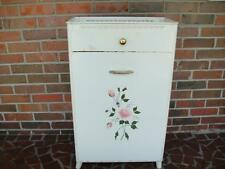 Vtg Detecto Metal Floral Toleware Laundry Hamper w/Drawer All Oringinal  VG