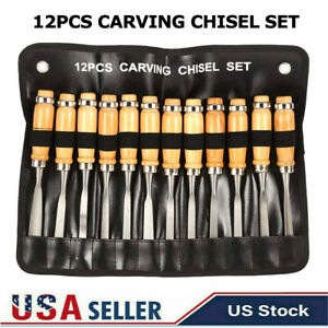 Wood Carving Hand Chisel Tool Set Professional Woodworking Gouges Steel 12 PCS