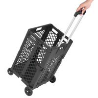 US 55lb Rolling Shopping Cart Bag Folding Grocery Basket Storage With 4 Wheels