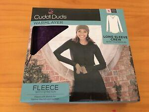 New Cuddl Duds Women's Fleece Stretch Long sleeve Crew Top Warm Layer Purple S