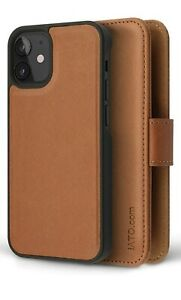 """IATO IPHONE 12 / 12 PRO 6.1"""" BROWN LEATHER WALLET CASE GENUINE SLOT FOR CARDS"""