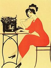 ART PRINT POSTER ADVERT TYPEWRITER WOMAN RED DRESS WRITING USA NOFL0929