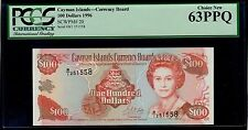CAYMAN 100 DOLLARS 1996 B/1 PICK # 20 PCGS UNC 63 PPQ