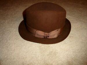 Men's Preowned Cavanagh Carmody Mink Brown Fedora Hat Size 7 1/4