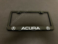 1xACURA BLACK STAINLESS LICENSE PLATE FRAME + Screw Caps (Style LL)