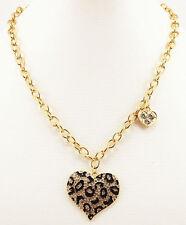 Silver/Gold  Chain leopard print Rhinestone Heart Pendant Necklace