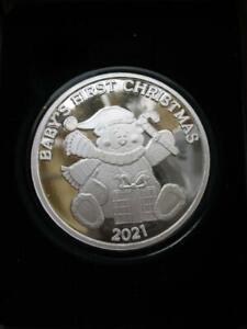 1-OZ CUTE 2021 BABY'S FIRST CHRISTMAS TEDDY BEAR ENGRAVE .999 SILVER COIN+GOLD