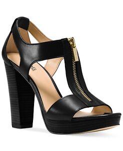 NEW MICHAEL Michael Kors Berkley T-Strap Platform Sandal Size 5.5 Black Leather