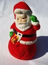 Vintage Santa Bell- Ceramic w/ Velvet Flocking- Christmas