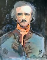 Print Edgar Allen Poe Gothic Portrait Illustration Painting Wall Art 11x14""