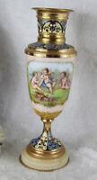 Rare French 19thc Enamel Cloisonne Onyx porcelain putti Vase top piece