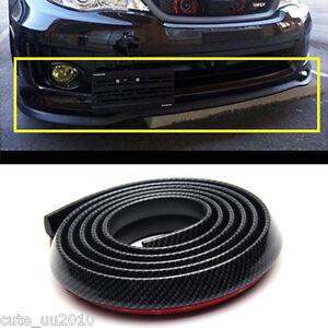 Car Front Bumper Lip Splitter Spoiler Skirt Adhesive Carbon Fiber Strip Protect