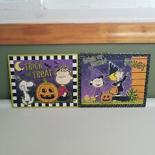 2 Halloween Peanuts Lot Puzzle Frame Tray Jigsaw Snoopy Witch Woodstock CG