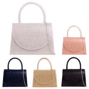 Ladies Satin Diamante Clutch Bag Girls Rain Drop Gem Prom Party Handbag KH2698