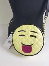 NWT LUV BETSEY BY B. JOHNSON WOMEN YELLOW CANTEEN SMILE FACE EMOJI CROSSBODY BAG