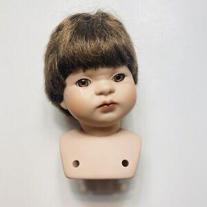 "VTG Porcelain Doll Head 4 1/4"" Short Brown Wig Eyes Parts Swivel Child Crying"