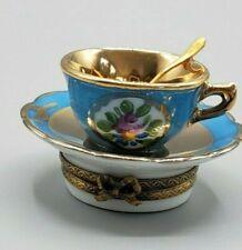 Blue Tea Cup & Saucer Limoges Box