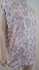 STELLA MCCARTNEY 100% Cotton Cream Beige & Brown Leopard Print Tee Top IT46 UK14