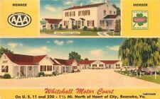 1960s Roanoke Virginia Whitehall Motor Court linen MWM postcard 1264