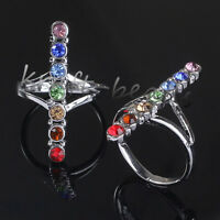 1x Charm Silver Plated 7 Glass Beads Chakra Healing Point Adjustable Finger Ring