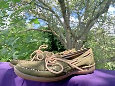 BASS Forest Green Leather Boat Boater Loafers Slides Flats Shoes Sz 10 ❤️sj15m5