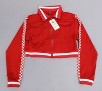American Bazi Women's Checkerboard-Stripe Crop Jacket CD4 Red Size 2X NWT