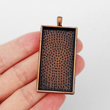 3x Antique Copper Rectangle Pendant Trays 47*24mm Blank Bezels Cabochon Setting