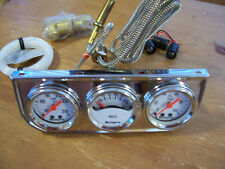 Chrome Steel Oil Pressure Voltage Water Temperature Triple Mechanical Gauge Kit