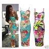 Womens Celeb Cami Strappy Sleevless Floral Print Bodycon Midi Dress Plus Size