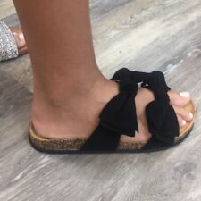 Mata Black Double Bow Slide Sandals with Soft Cork Footbed Size 8M