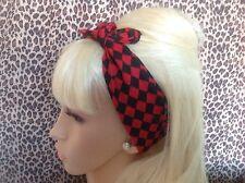 RED BLACK CHECK PRINT COTTON SQUARE BANDANA HEAD HAIR NECK SCARF RETRO PIN UP