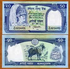 Nepal, 50 Rupees, ND (1983-), P-33 (33c), Sign. 13 UNC > King Birendra, Goat