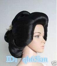 Hot!!! Black Geisha Wig Full Wigs Plate Hair Anime Wigs Cosplay Wig