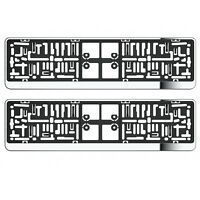 2X CHROME NUMBER PLATE HOLDER SURROUNDS FOR SUZUKI ALL MODEL WITH UK SPEC PLATE