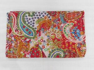 Red Indian Cotton Reversible Kantha Quilt Handmade Bedspread Paisley Twin size