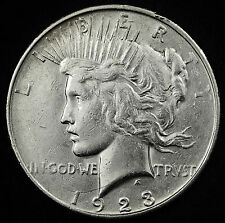 1923-d Peace Silver Dollar. Long Die Break from L in Liberty to neck. A.U. 95026
