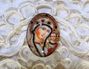 Madonna & Child 30X40mm Glitter Unset Handmade Glass Art Bubble Cameo Cabochon