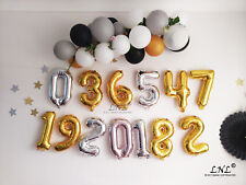 "Rose gold balloons 16"" First Birthday Foil Mylar Party Numbers Custom Age Happy"