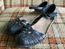 Clarks Womens 10M Black Ankle Strap Leather Sandals 26069522