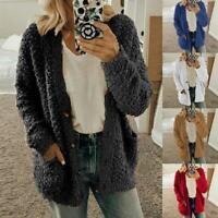 Oversized Womens Long Sleeve Fleece Fluffy Cardigan Sweater Pocket Jacket Coat