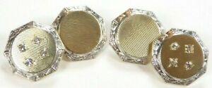 """Antique Vintage Art Deco Men's Diamond Cufflinks 14K Two Tone .52xx52"""" .24CTTW"""